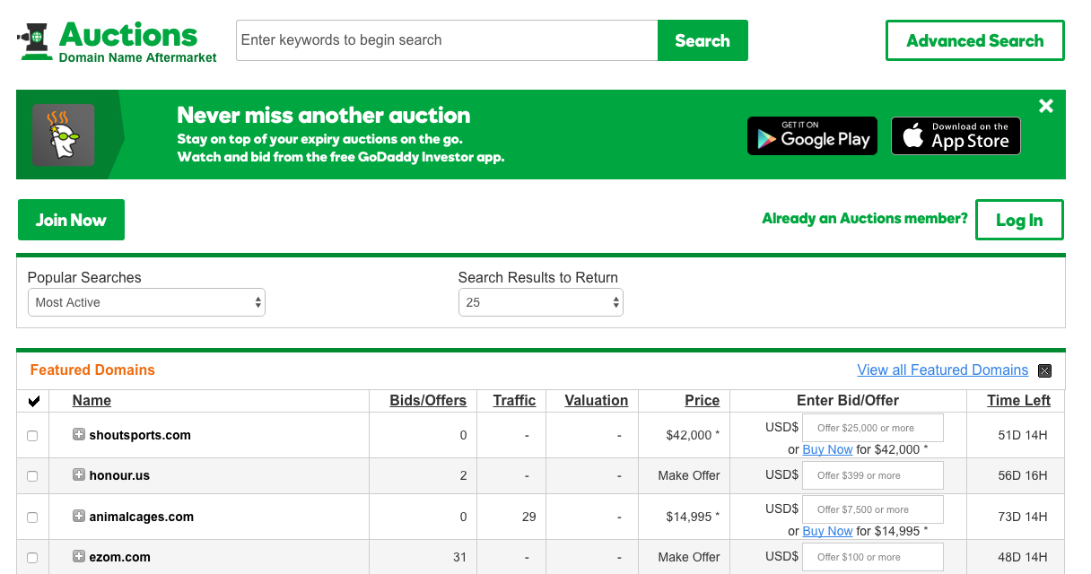 public auction domains pbn
